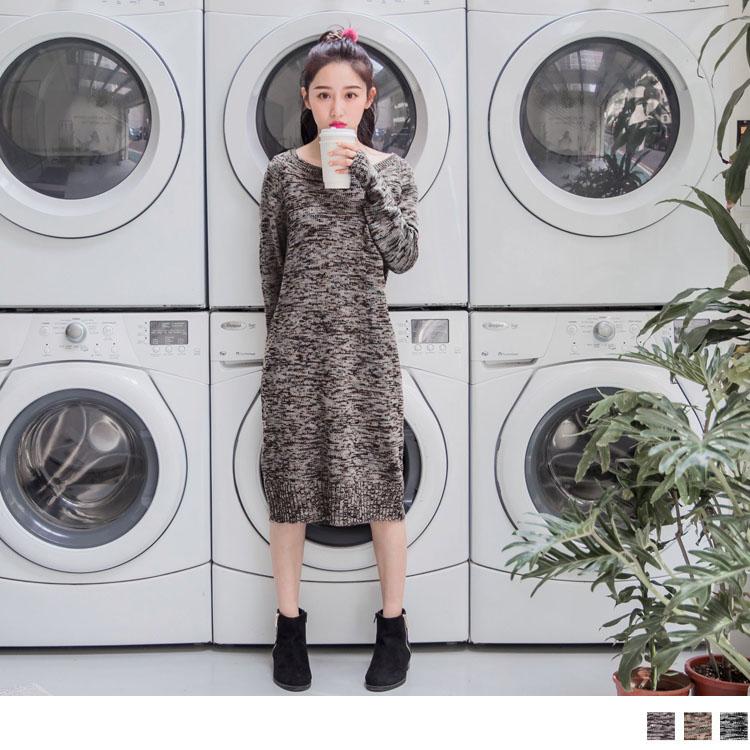 圓領混色針織羅紋收邊長版洋裝