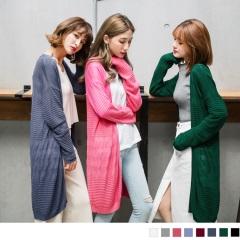 橫條紋壓褶開襟長版針織外套