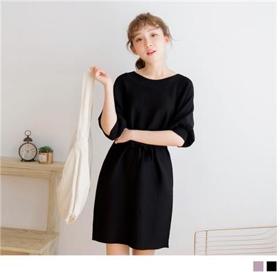 1027新品 附綁帶縮口袖針織洋裝/長版上衣