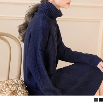 1013新品 高領素色麻花針織中長洋裝