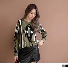 1020新品 黑白條紋幾何圖形針織上衣