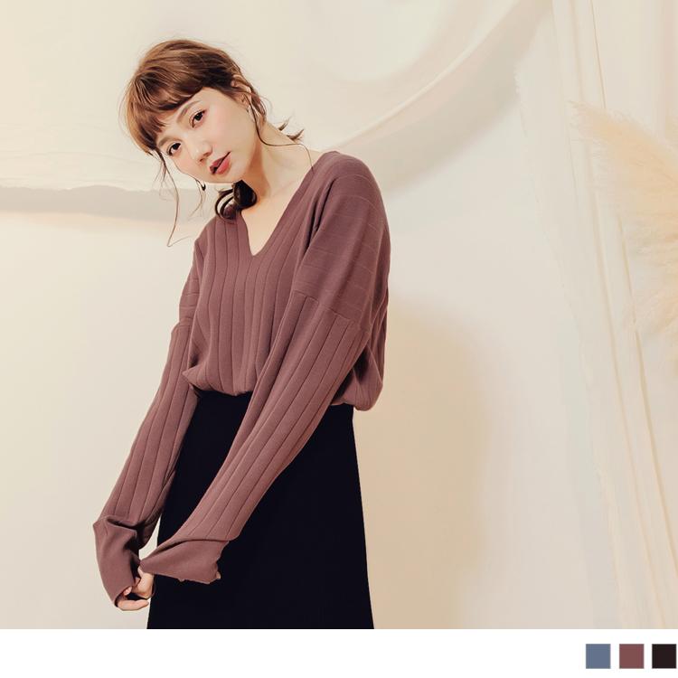 純色V領直坑條包芯紗針織上衣