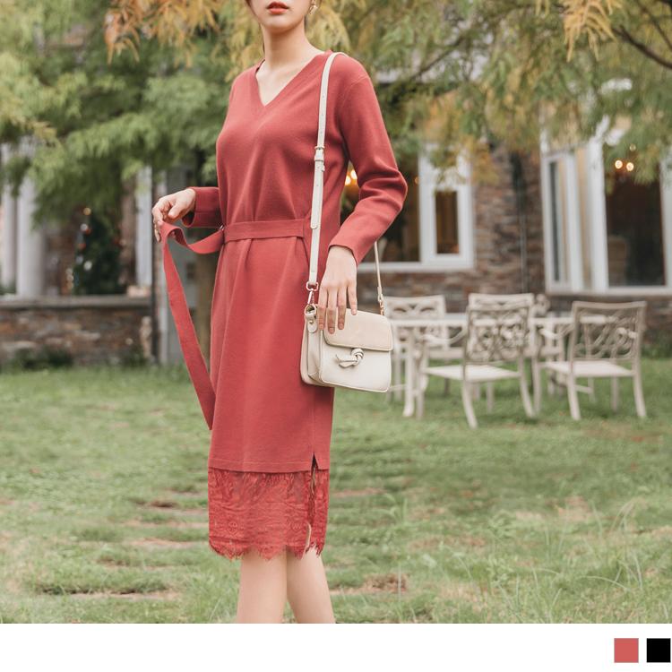 造型腰帶蕾絲裙襬拼接包芯紗細針織毛衣洋裝