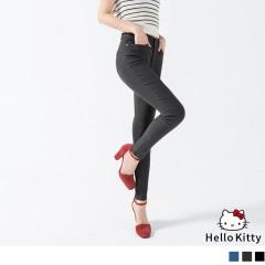 撲克KITTY刺繡圖樣彈力窄管褲