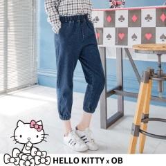 撲克KITTY刺繡圖樣高含棉牛仔縮口長褲