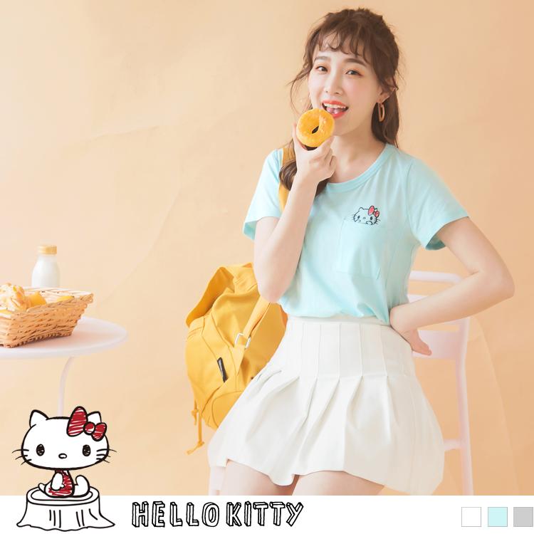 野餐KITTY~口袋造型高含棉短袖上衣