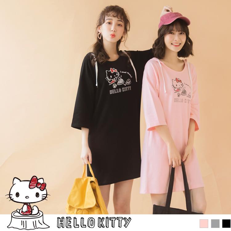 野餐KITTY~印圖連帽抽繩寬鬆長版上衣/洋裝