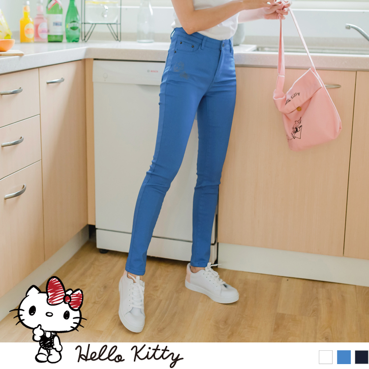 KITTY刺绣纯色高含棉窄管裤
