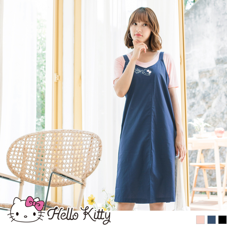 PINKHOLIC~高含棉KITTY印圖前開衩吊帶裙