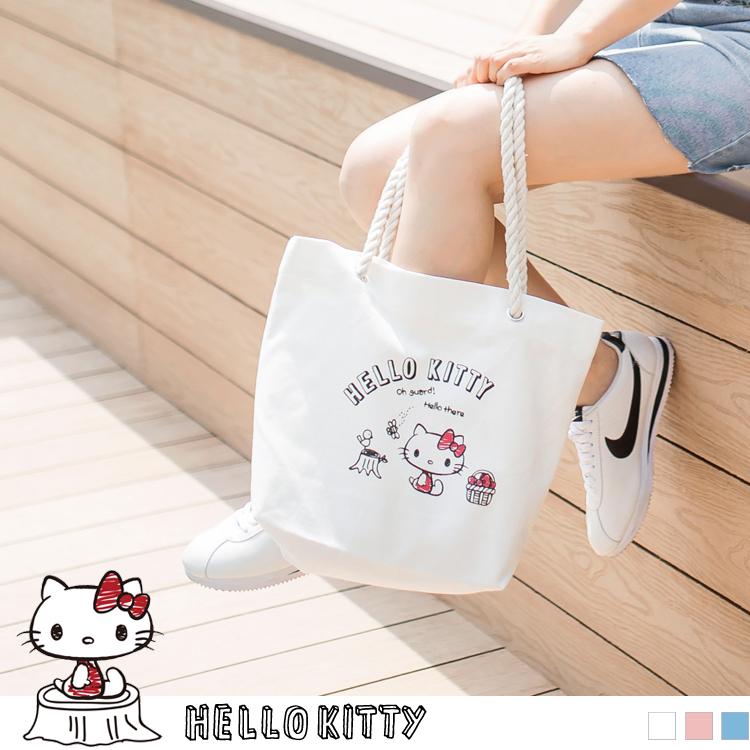 野餐系列~KITTY印图麻绳帆布包
