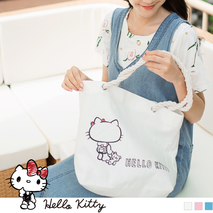 野餐系列~台灣製造KITTY印圖麻繩帆布包