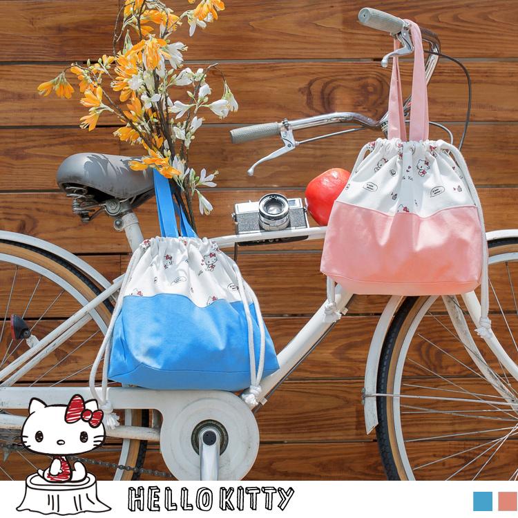 野餐系列~KITTY印图束口拼色帆布包