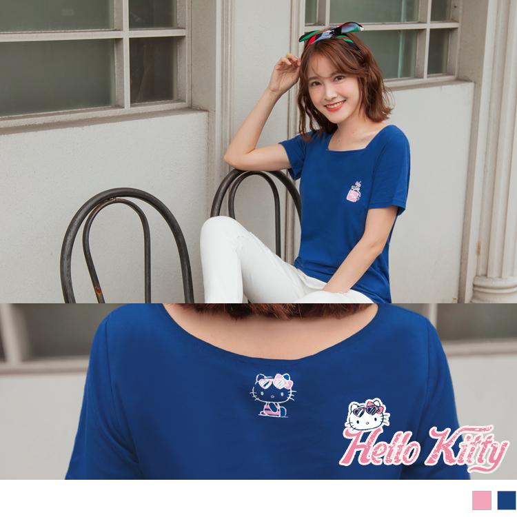 台灣製造~夏日Kitty高含棉平口領短版上衣