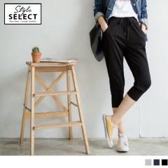 台灣製造~鬆緊抽腰綁帶素色七分休閒哈倫褲.3色
