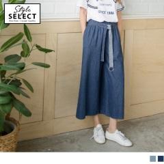 高含棉牛仔質感腰圍鬆緊綁帶打褶造型寬褲.2色