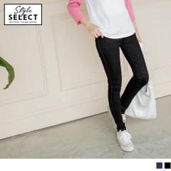 0804新品 親膚質感設計仿牛仔鬆緊修型窄管褲.2色