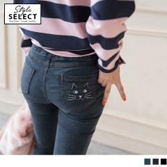 後口袋貓咪圖案修身牛仔窄管褲