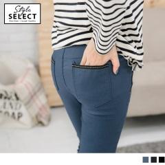 拼色口袋緣設計窄管褲