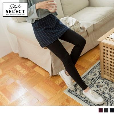 1026新品 毛呢直條短裙拼接素色磨毛假兩件內搭褲