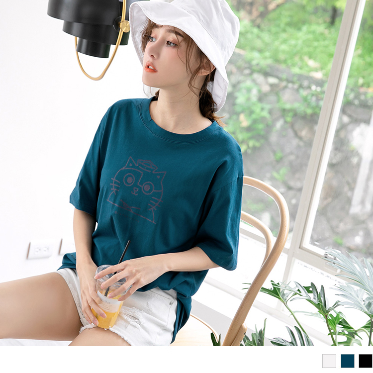 黃阿瑪系列~台灣製造純棉阿瑪圖案線條寬鬆T恤