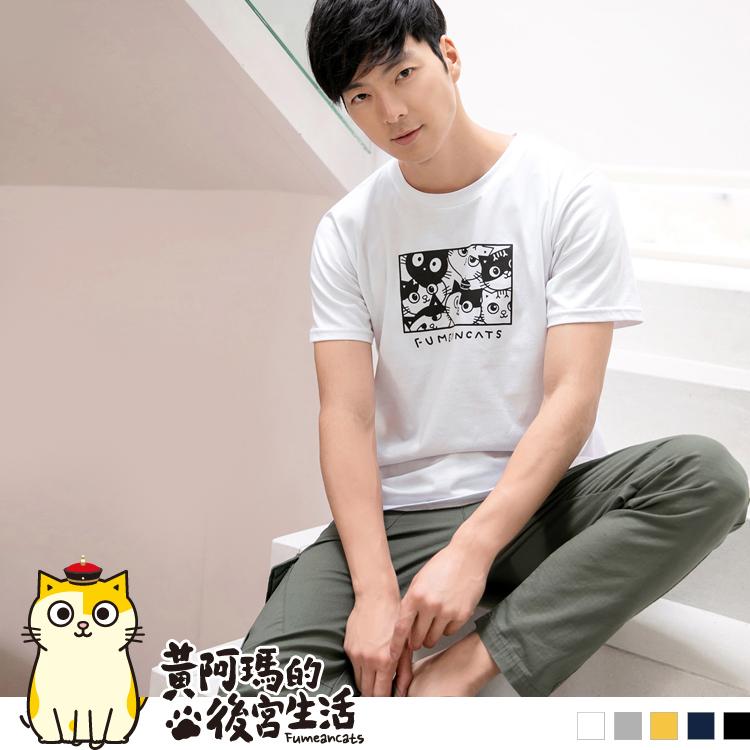 黃阿瑪系列~台灣製造純棉後宮貓咪印花T恤(男)【含空運費】