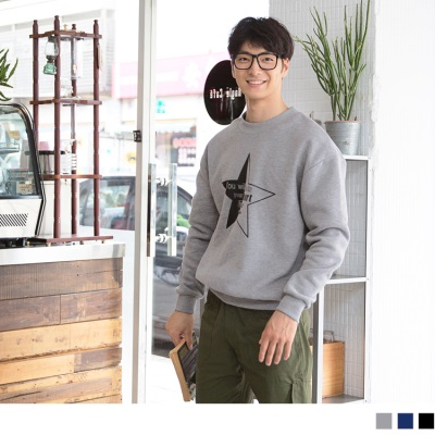 0921新品 星星字母內刷毛衛衣上衣.男