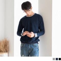 袖口刺繡高含棉雙色領上衣.男
