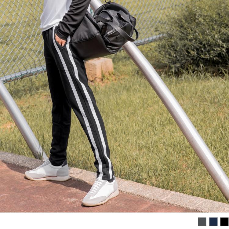 抽繩綁帶線條滾邊休閒棉質運動褲