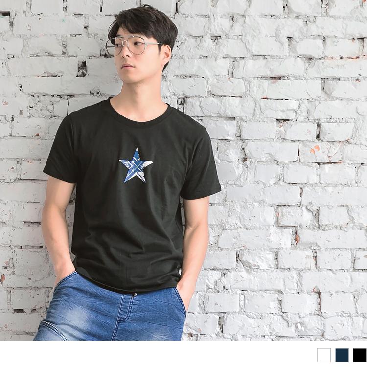 設計感星星燙印圖短袖上衣