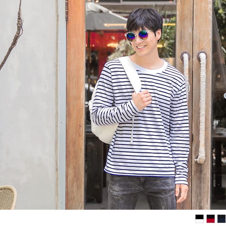 高含棉彈性基本條紋男生長袖上衣