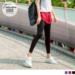 鬆緊運動短褲拼接素色內搭褲
