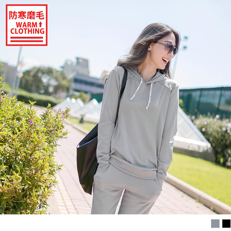 台灣製造~抗UV保暖磨毛抽繩字母連帽運動上衣