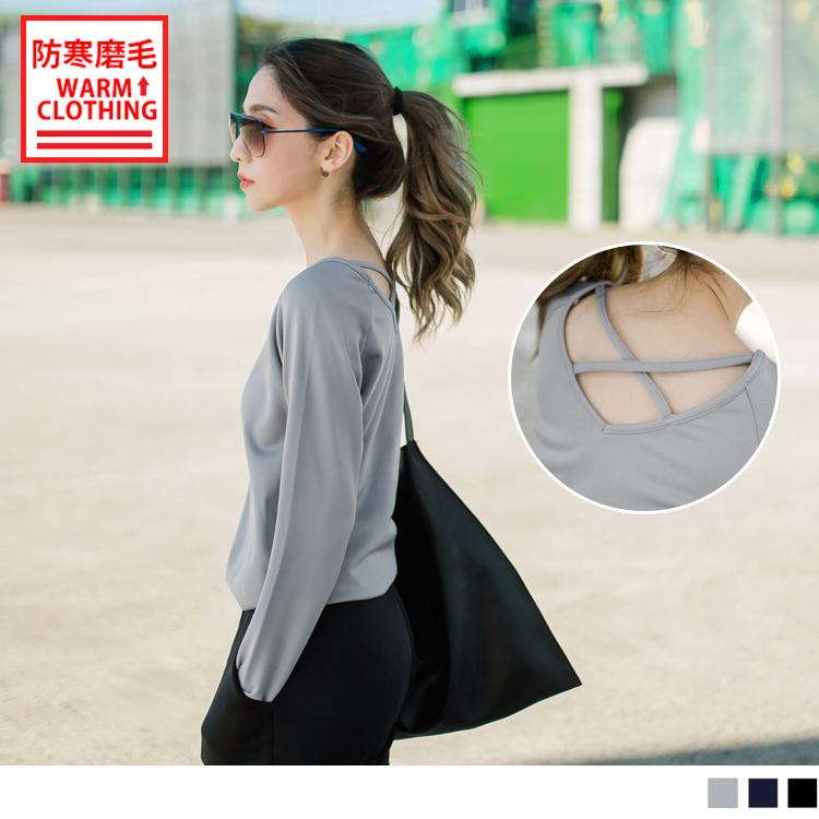 台灣製造~抗UV保暖磨毛交叉美背運動上衣