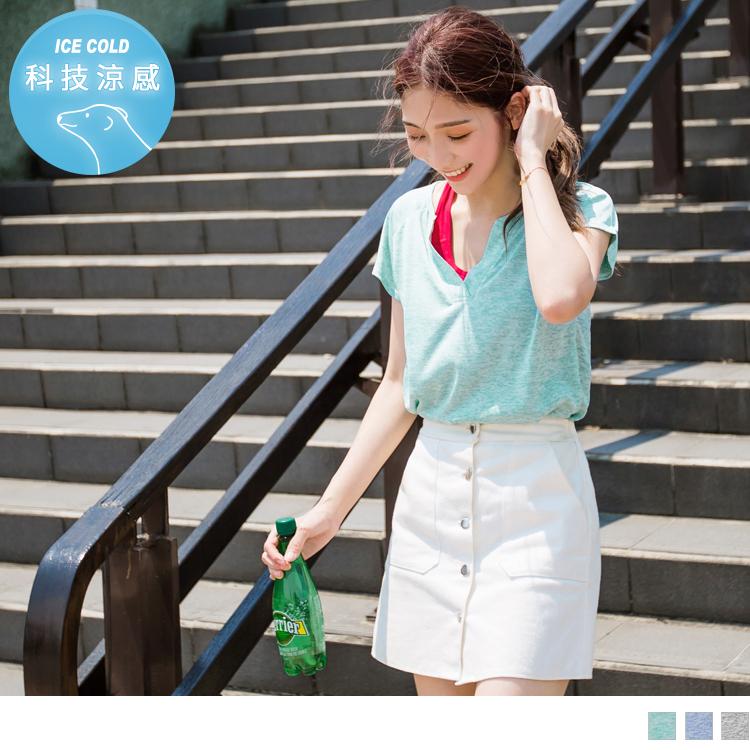 台灣製造~木醣醇涼感花紗彈力V領運動上衣