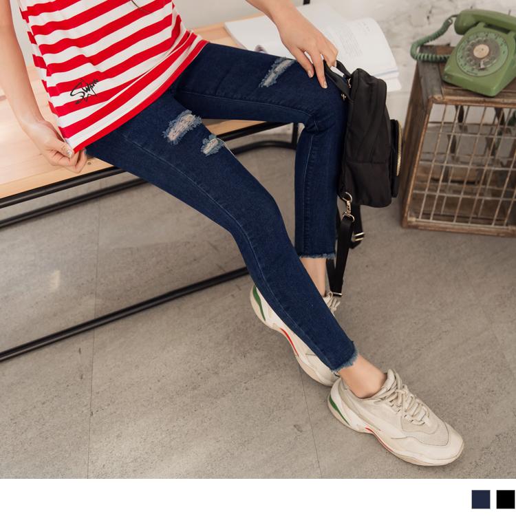 S.W羅小白系列~個性刷色破損彈力修身窄管牛仔褲