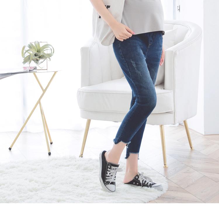 裤管剪裁设计弹力窄管孕妇裤