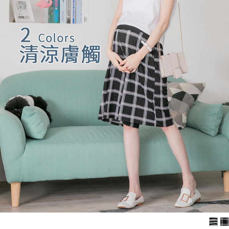 高含棉凉感图腾七分孕妇宽裤裙