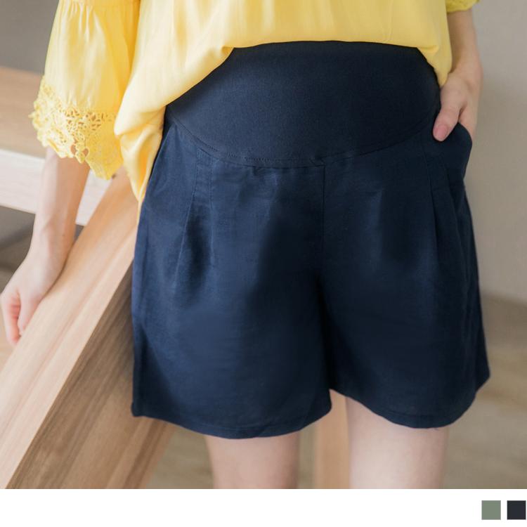 棉麻感立体抓皱垂坠孕妇短裤