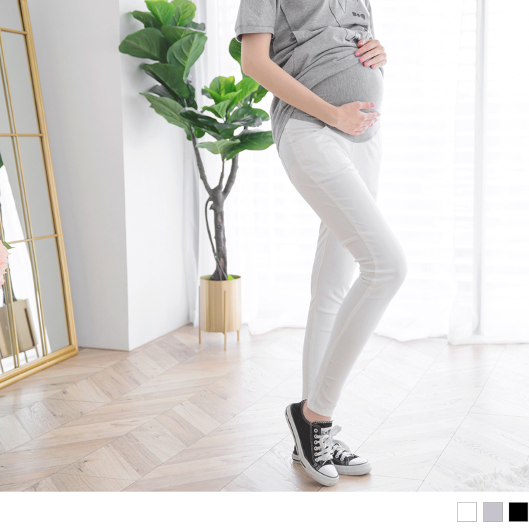 高弹力棉质素色合身孕妇裤