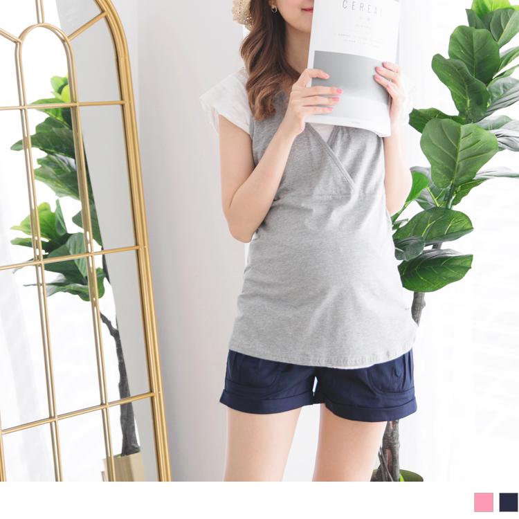 高含棉素色双口袋反折孕妇短裤