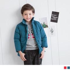 立領設計素面保暖棉外套