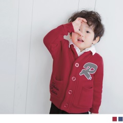 字母造型棉質排釦外套