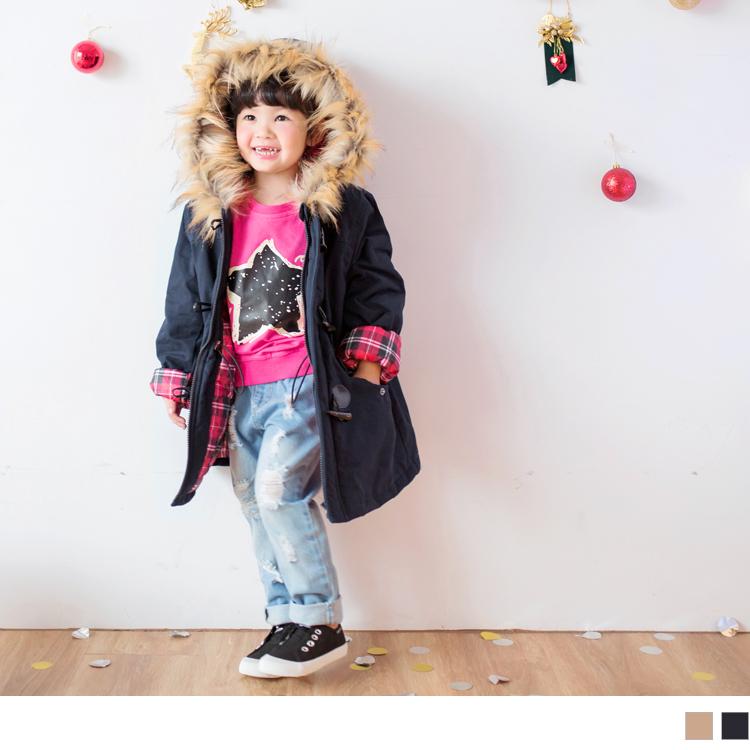 高含棉袖反褶格纹牛角釦毛边连帽铺棉外套