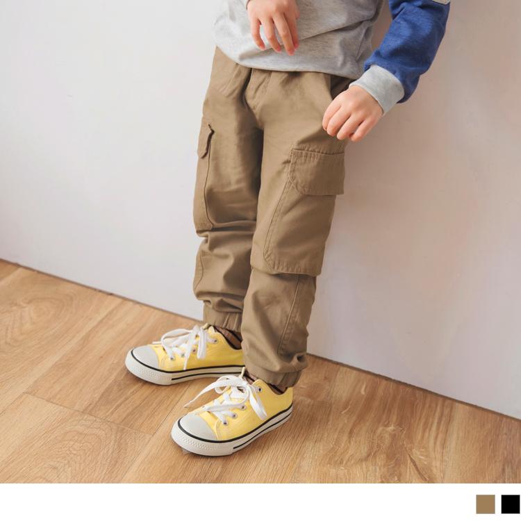 高含棉纯色腰松紧侧口袋缩口长裤