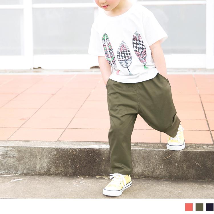 亲子款~高含棉素色腰松紧休闲长裤