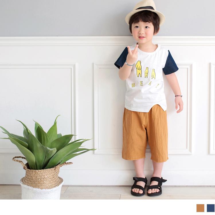 高棉双口袋立体车线休闲短裤
