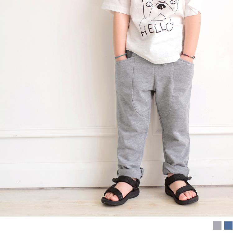 高含棉立体线绑带松紧长裤