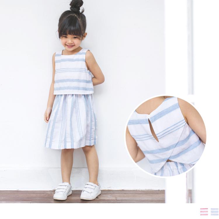 挖背直條紋造型傘襬長洋裝