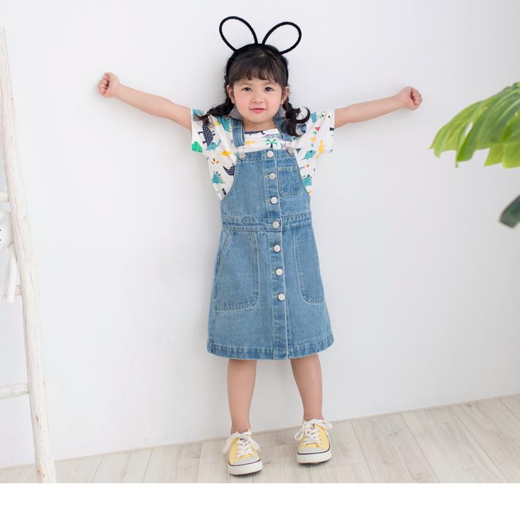 親子系列~高含棉牛仔排釦造型吊帶裙