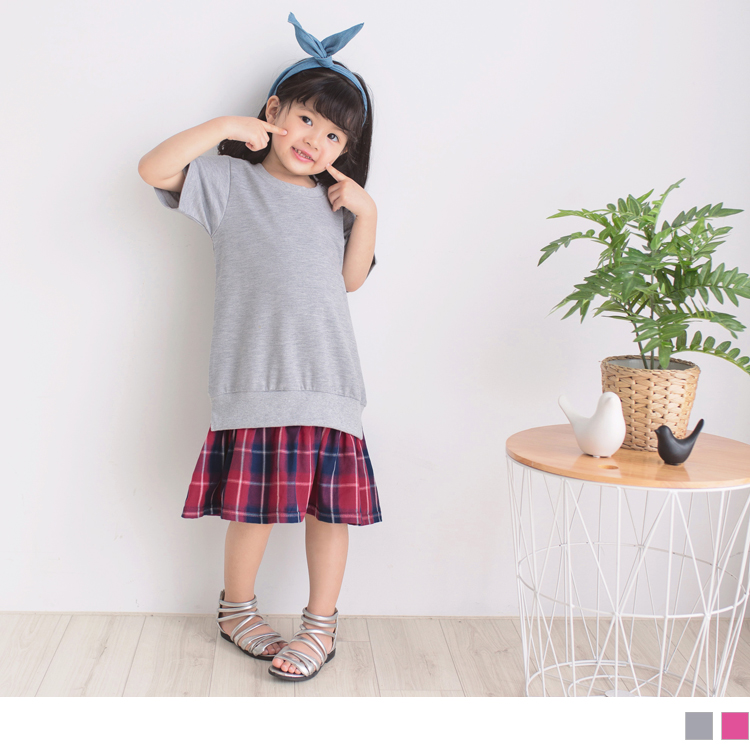 假兩件式棉質拼接格紋短袖洋裝